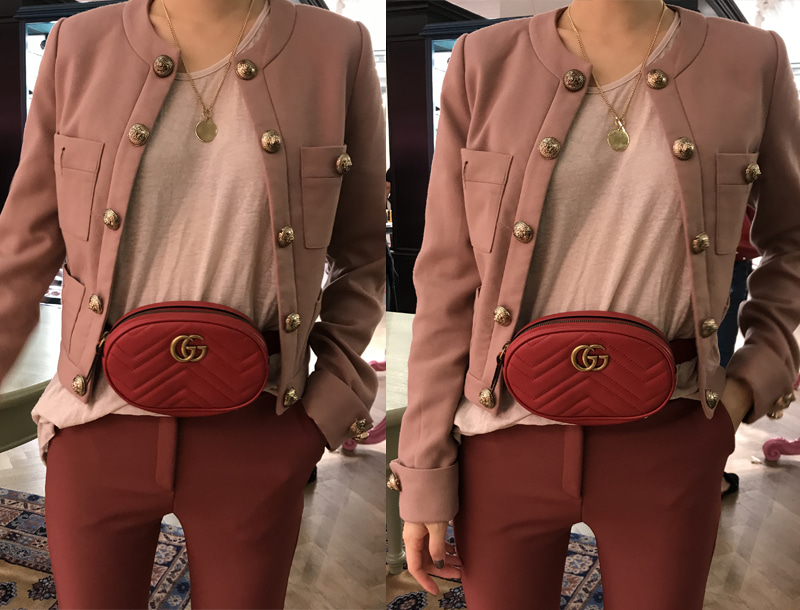 Gold button jacket / pink