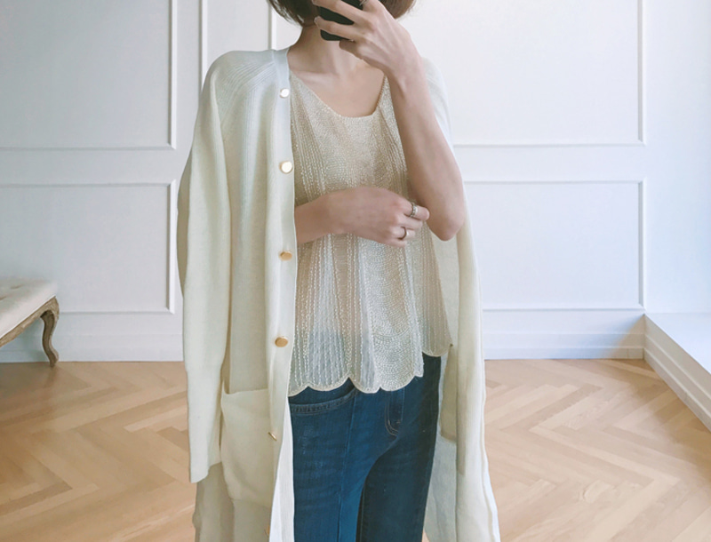 Slit cuffs long cardigans / ivory